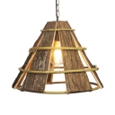 Wood Cone Shade Hanging Lamp Rustic Style 1 Light Ceiling Pendant Lamp in Brown, 16.5 Inch Wide
