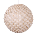 Beige Globe Ceiling Pendant Pastoral Woven 1 Light Hanging Lamp for Hallway Dining Room
