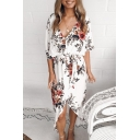 Fancy Floral Pattern V-Neck Short Sleeves Tied Waist Split Hem Midi Asymmetrical Dress