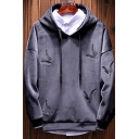 Hot Fashion Allover Feather Embroidery Long Sleeve Casual Drawstring Hoodie for Men
