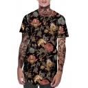 Mens Retro Ethnic Floral Printed Round Hem Short Sleeve Loose Sport T-Shirt