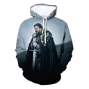 Fashionable 3D Letter Figure Printed Long Sleeve Unisex Loose Fit Drawstring Hoodie