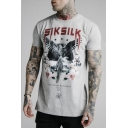 Mens Fashion Eagle Floral Letter Printed Round Neck Short Sleeve Casual Sport T-Shirt