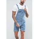 Mens Vintage Light Blue Rolled Cuff Casual Suspender Shorts Denim Bib Overalls