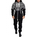 Mens Fashion Tribal Printed Drawstring Hooded Long Sleeve Casual Zip Up Jumpsuits