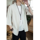 Men's Fashionable Chinese Style Plain Three-Quarter Sleeves Loose Cardigan Shirt Coat