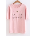 Cartoon Cute Cat Heart Embroidered Patchwork Relaxed Fit Short Sleeve Round Neck T-Shirt