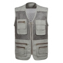 New Stylish V-Neck Quick Drying Multi Pocket Outdoor Breathable Photography Mesh Jacket Vest for Men