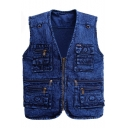 Trendy Cool Snow Washed V-Neck Zip Closure Multi-Pocket Blue Denim Vest for Men