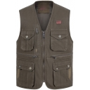 Spring New Stylish V-Neck Multi Pocket Zip Closure Utility Cotton Fishing Photography Vest