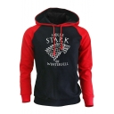 Game of Thrones Stark Wolf Printed Colorblock Fitted Long Sleeve Pullover Hoodie
