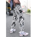 Popular Hip Hop Comic Figure Printed Drawstring Waist Loose Casual Grey Track Pants