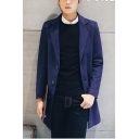 New Trendy Notched Lapel Collar Button Closure Slim Fit Men's Plain Woolen Coat Overcoat