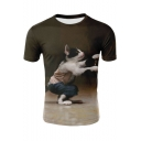 Popular 3D Cat Printed Round Neck Short Sleeve Leisure Brown T-Shirt