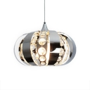 Kitchen Pendant Lights Modern with Adjustable Hanging Cord, Lantern Pendant Lighting with Clear Crystal in Polished Chrome