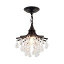 Foyer Chandelier Clear Crystal 1 Light Modern Height Adjustable Light Fixtures in Black/Gold