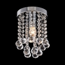 Dining Room Cylinder Ceiling Light  Clear Crystal Contemporary Nickel Chandelier