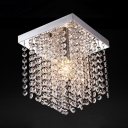 Contemporary Nickel Chandelier with Rectangular 1 Light Clear Crystal Ceiling Light