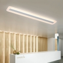 Linear LED Flush Light Nordic Style Acrylic Ceiling Lamp in Warm/White for Living Room Office