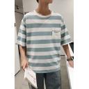 Summer Fashion Stripe Print Pocket Patched Half-Sleeved Loose T-Shirt