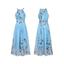 Summer Trendy Floral Printed Boho Style Halter Neck Belted Waist Maxi Dress