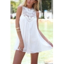 Fashion Plain Round Neck Sleeveless Lace Panel Hollowing out Mini Chiffon Tank Dress