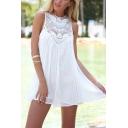 Fashion Plain Round Neck Sleeveless Lace Panel Hollowing out Mini Chiffon Tank Dress