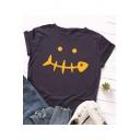 Fashion Fish Bone Pattern Basic Round Neck Short Sleeve Casual Cotton T-Shirt