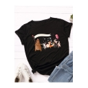 Cool Cartoon Animals Printed Round Neck Short Sleeve Casual Cotton T-Shirt