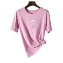 Simple Basic Moon Print Round Neck Short Sleeve Casual Cotton T-Shirt