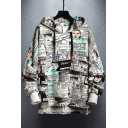 Guys Hip Hop Fashion Comic Letter Graffiti Printed Dipped Hem Loose Casual Hoodie