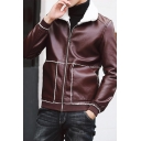 Men's New Stylish Lapel Collar Contrast Piping Zip Up Fur and Leather Jacket