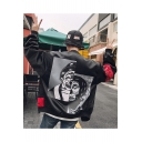 Guys Hip Hop Street Fashion Clown Back Letter Patched Stand-Collar Zip Closure Black Baseball Jacket