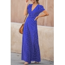 Women's Holiday Fashion Polka Dot Print V-Neck Short Sleeve Floor Length A-Line Dress