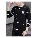 Guys Fashion Irregular Stripe Printed Long Sleeve Round Neck Pullover Sweatshirt