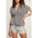 Fashion Classic Plaid Print V-Neck Short Sleeve Black Blouse Top