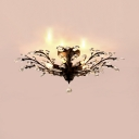 Vintage Style Black Semi Flush Lighting with Clear/Amber Crystal Decoration 4/5 Lights Ceiling Light