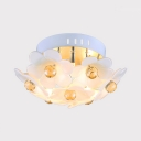 Floral Semi Flush Light for Bedroom 3-Light Modern Style Clear Crystal Ceiling Lighting, 6