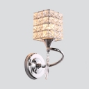 Contemporary Style Rectangle Sconce Light Clear Crystal Single Light Wall Light Fixture for Hallway