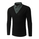 New Stylish Lapel Collar Plaid Patched Mens Fake Two-Piece Fitted Black Sweater