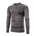 Mens Hot Fashion Marled Knit Round Neck Solid Color Basic Slim Fit Sweater