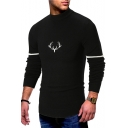 Simple Deer Print Mock Neck Stripe Long Sleeve Fashion Slim Fit Sweater