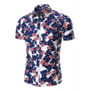 Summer Allover Flag Printed Men's Short Sleeve Slim Fit Button Closure Navy Shirt