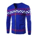 Men's Fashion Geometric Jacquard Round Neck Zip Up Slim Fit Cardigan