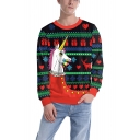 Unisex Funny Christmas Unicorn Print Round Neck Long Sleeve Sweater Jumper