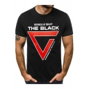 Summer Trendy Simple Triangle Letter THE BLACK Round Neck T-Shirt for Men
