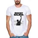ROCKY BALBOA Simple Letter Printed Mens Basic Short Sleeve White Graphic Tee