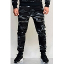 Mens Fashion Camouflage Printed Multi-Zip Embellished Sport Cargo Pants