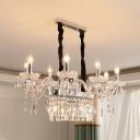 Living Room Candle Hanging Pendant Clear Crystal Vintage Chrome/Gold/Brown Chandelier