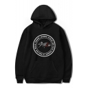 Boy Band New Stylish Letter Circle Printed Loose Fitted Unisex Pullover Hoodie